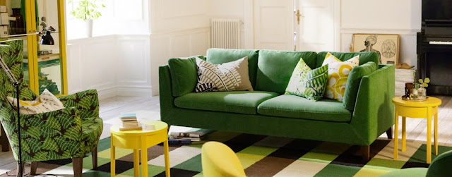 IKEA sofa, emerald green sofa, interior design