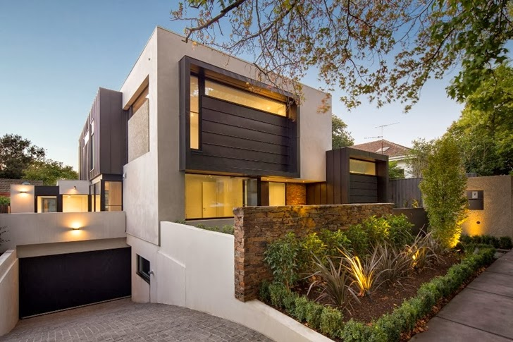 Street facade of Contemporary Style Home by Domoney Architecture