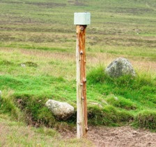 The marker post on Craig Vallich, Deeside Walks