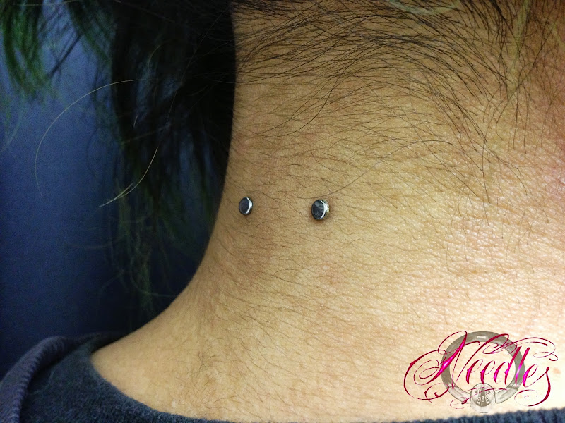 Weeks Old Surface Piercing with Anatometal Titanium Flat Barbell and  title=
