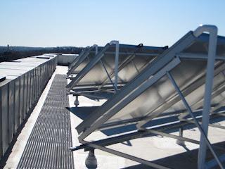 underside of roof mounted solar array in Boston