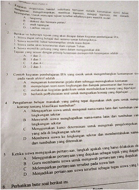 Soal UTN PLPG SMP IPA