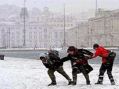 Bora y nieve en Trieste