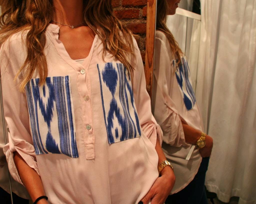 wjhite&one, camisa bolsillos étnicos,camisa rosa, bolsillos azules