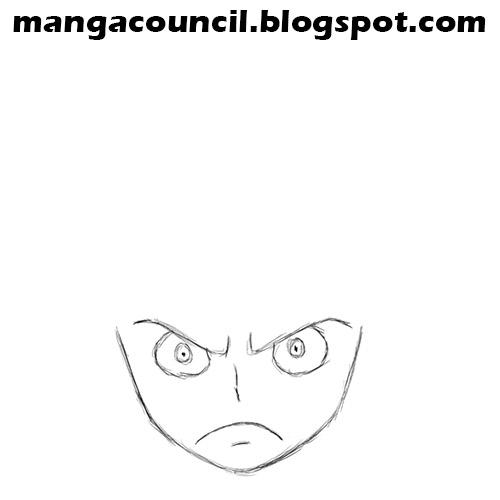 Lalu kita gambar kuping nya Luffy sebanyak 2 biji, sesuai dengan ...
