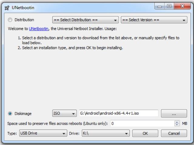 pilih file iso android kitkat dan usb drive yang digunakan