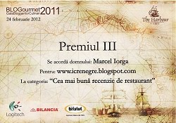 Premiul III <br>Cea mai buna recenzie de restaurant