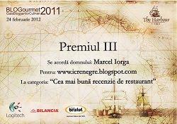 Premiul III <br>Cea mai buna recenzie de restaurant