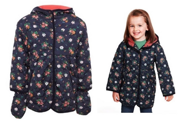 Hooded Ditsy Floral Quilted Coat