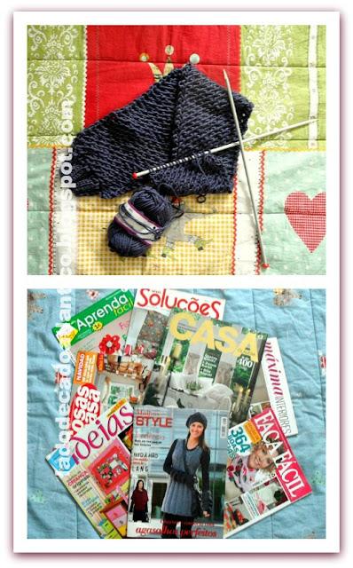 Imagem de um cachecol e de revista de decoração e ideias de artesanato