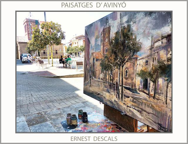 AVINYÓ-BAGES-PINTURA-PAISATGES-PLAÇA MAJOR-ESGLESIA-PINTOR-FOTOS-ERNEST DESCALS-