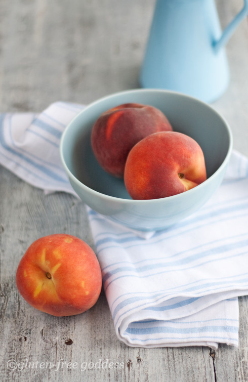 Fresh summer peaches in a bowl, peach crisp recipe