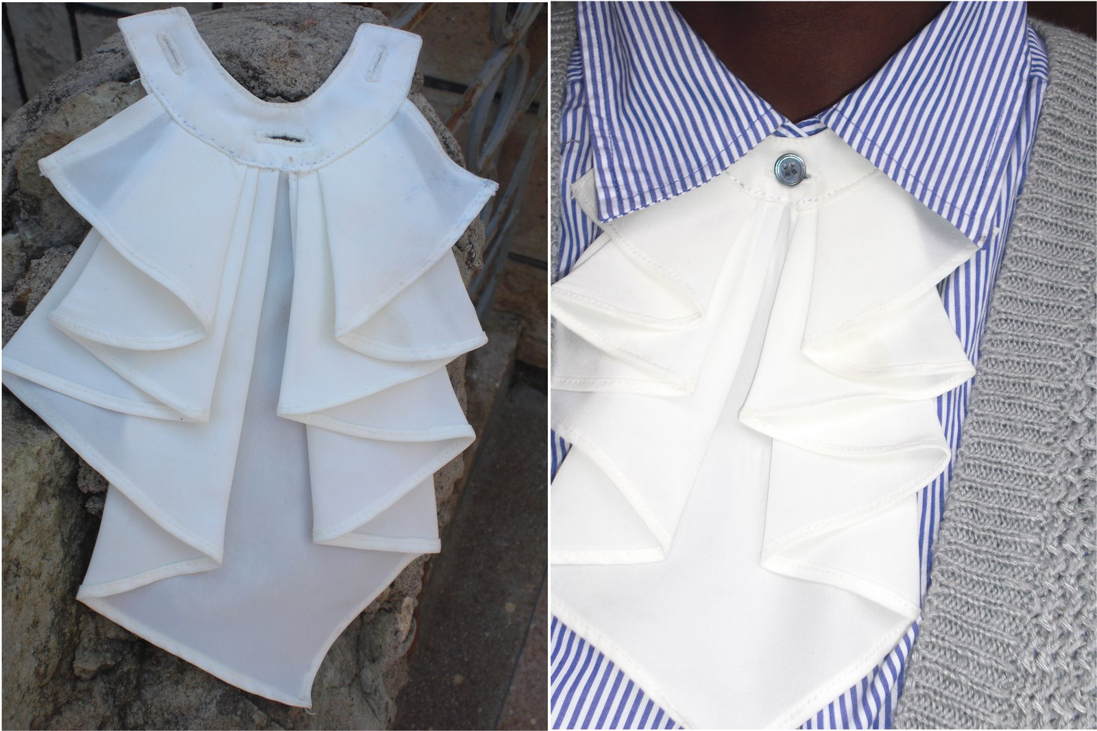 Make a paper pattern of the jabot place the paper pattern on the