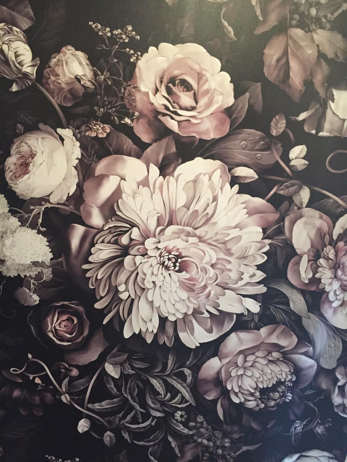 Black floral print wallpaper dark floral wallpaper by ellie cashman - The Dark Floral Wallpaper In The Dressing Rooms Is By Ellie Cashman