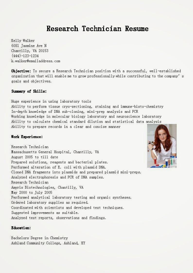 research technician resume research technician resume 1508