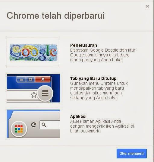 Pemberitahuan Google Chrome telah diperbarui ke Versi 29.0.1547.66 m.