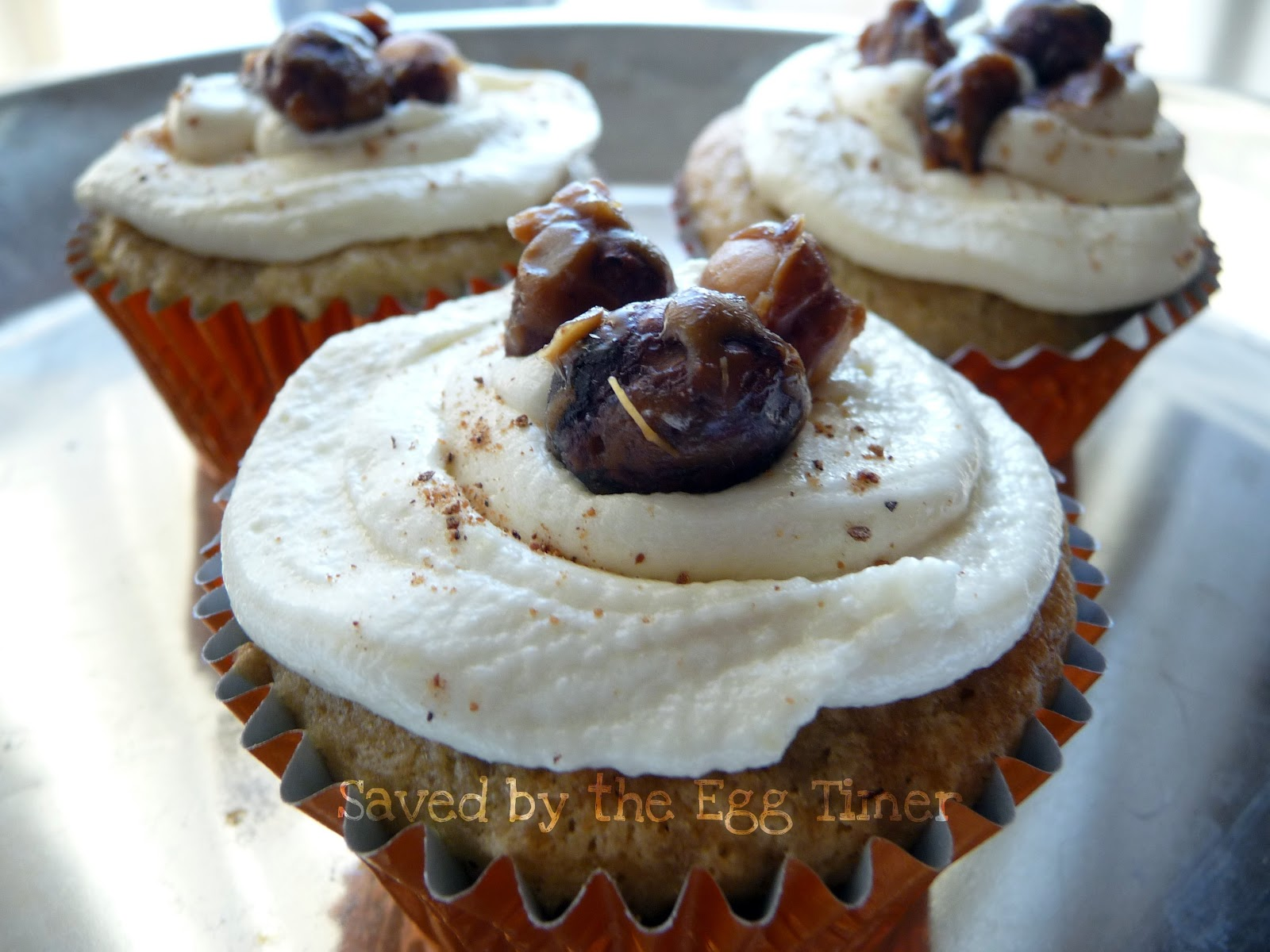 Banana Cupcakes with Candied Hazelnuts