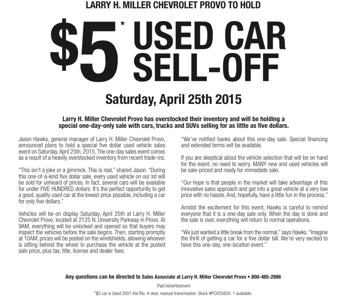 Larry H. Miller Chevrolet Provo   $5 Used Car SellOff