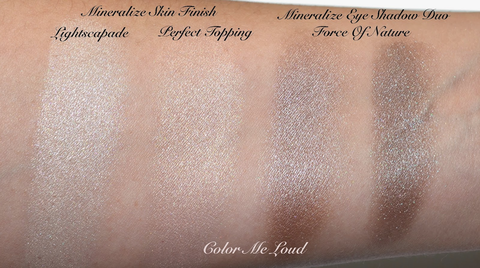 Swatches: MAC Mineralize Skinfinish in Perfect Topping, Lightscapade, Eye Shadow in Force of Nature
