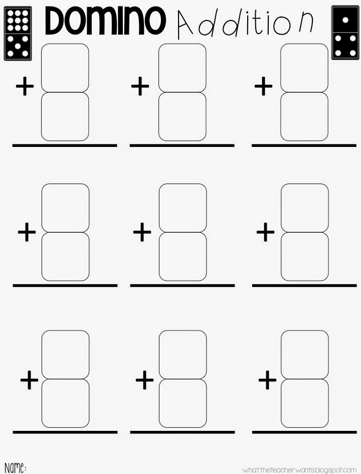 What the Teacher Wants Domino Addition and Subtraction – Domino Addition Worksheet