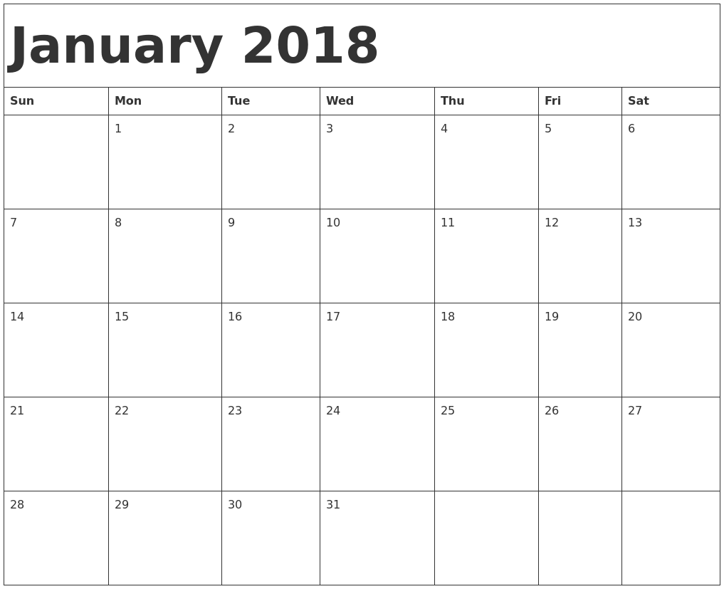 january 2018 calendar printable with holidays