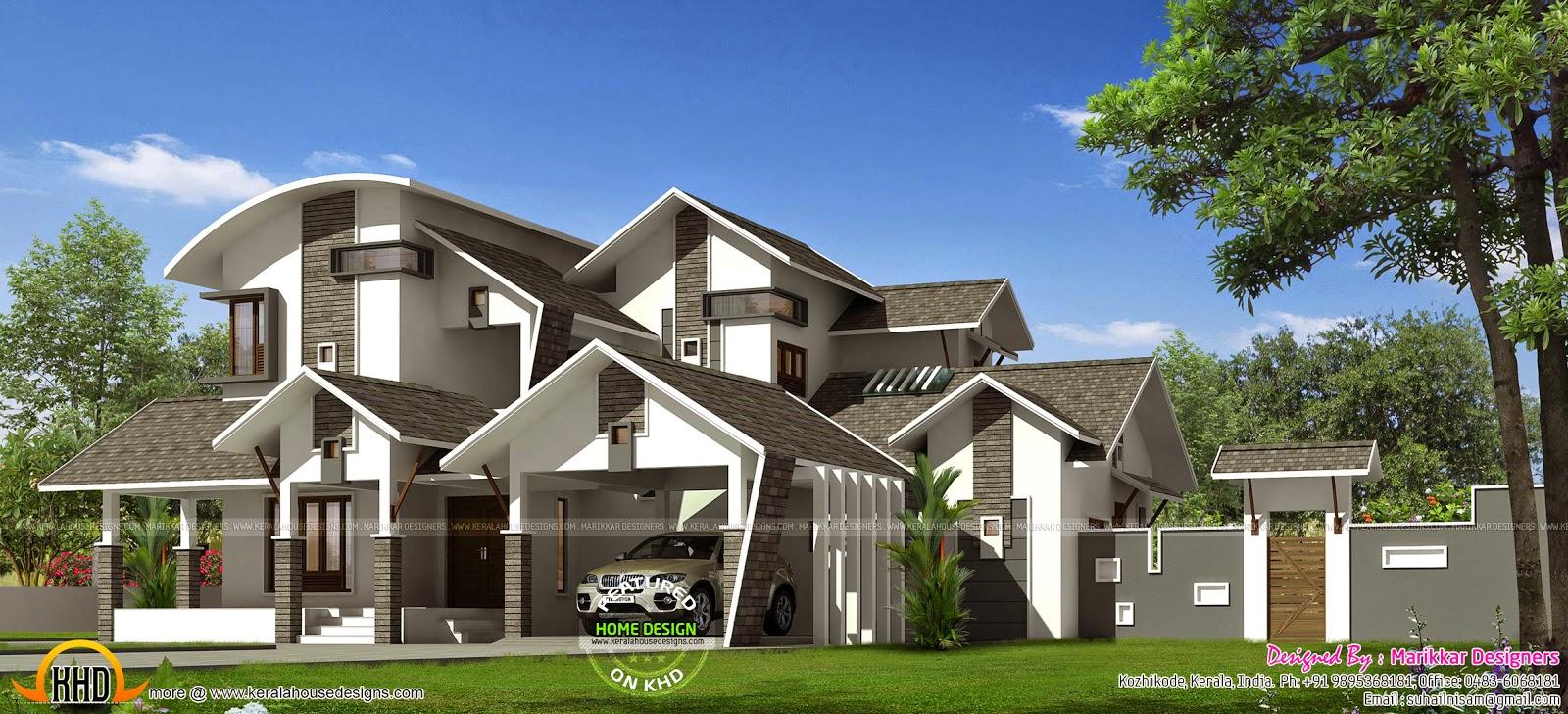 Unique contemporary villa exterior kerala home design for Unique modern house exterior