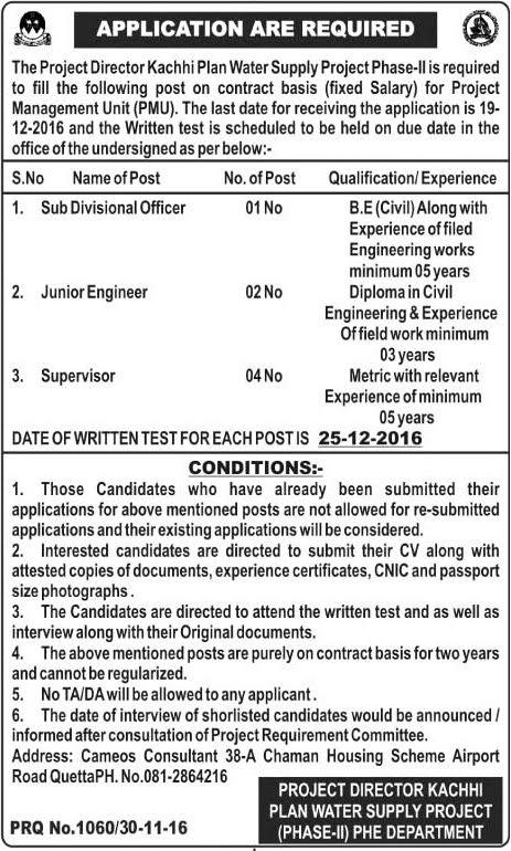 Receiving Supervisor Jobs supervisor housekeeping Engineering Jobs In Kachhi Plan Water Project Quetta