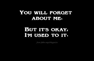 You will forget about me. But it's okay, I'm used to it.