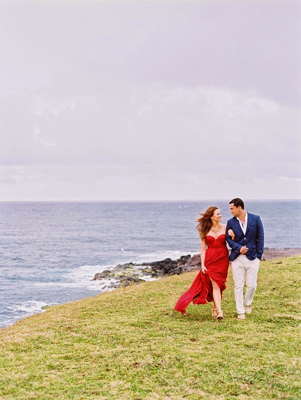 Coastal Engagement Shoot With Sarah Seven's Practically Perfect gown dyed Ruby Red