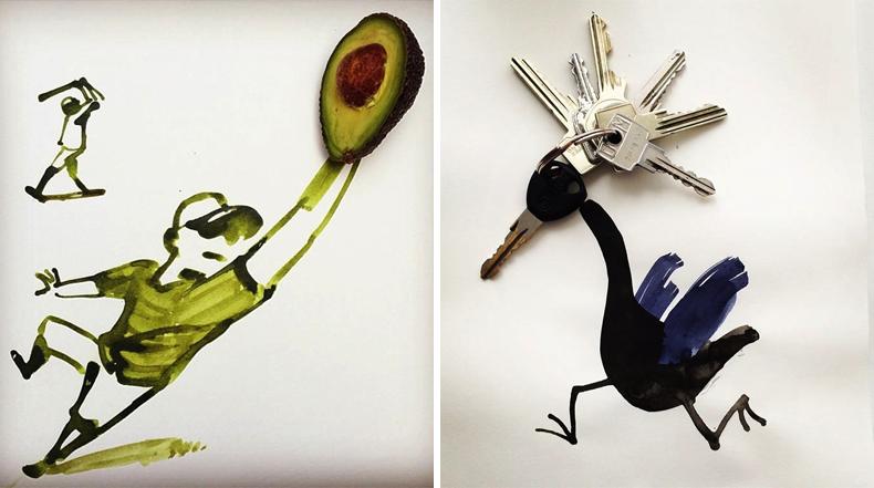 Objetos cotidianos re-imaginado por Christoph Niemann
