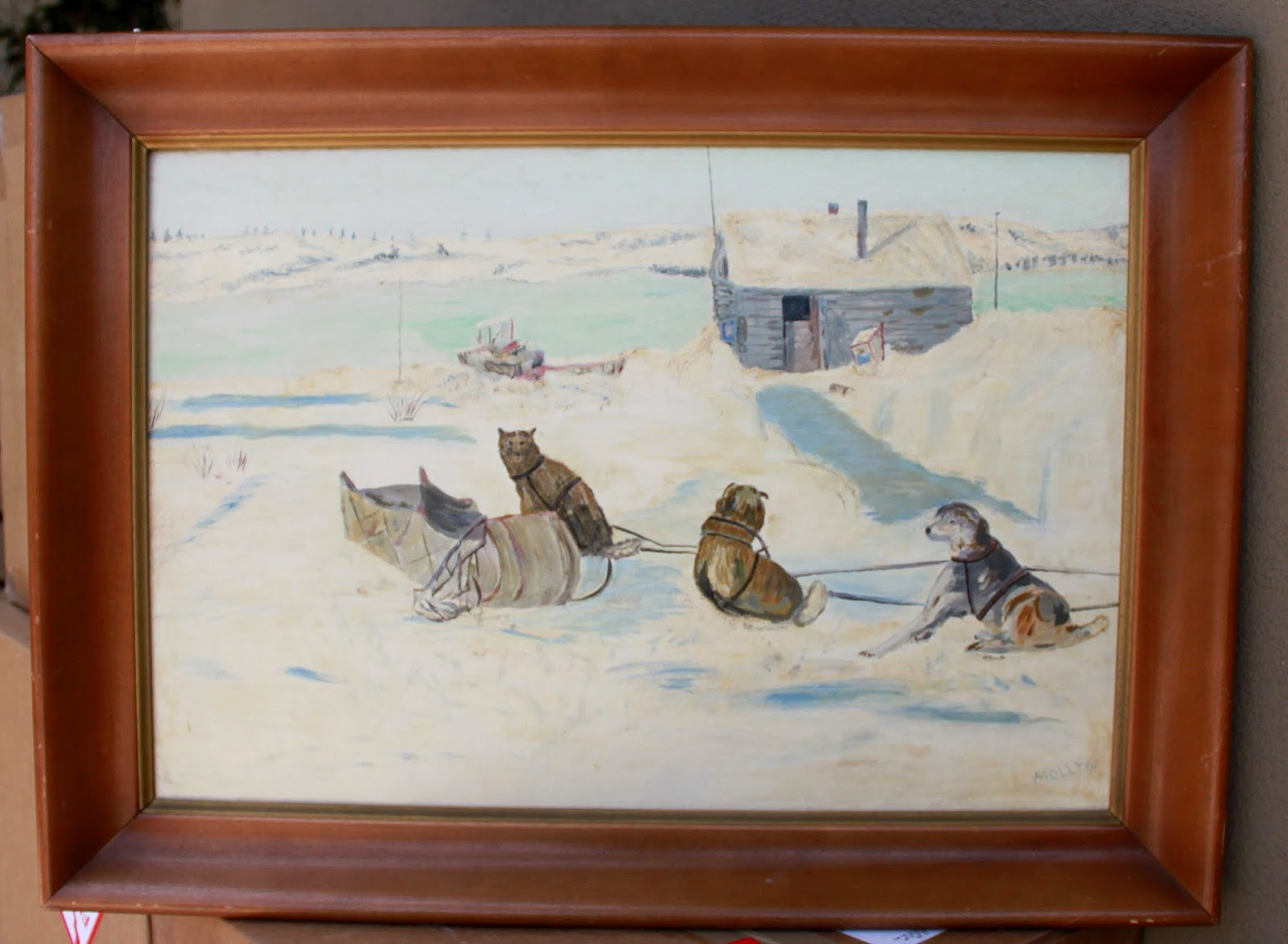 husky oil painting from the 1960s