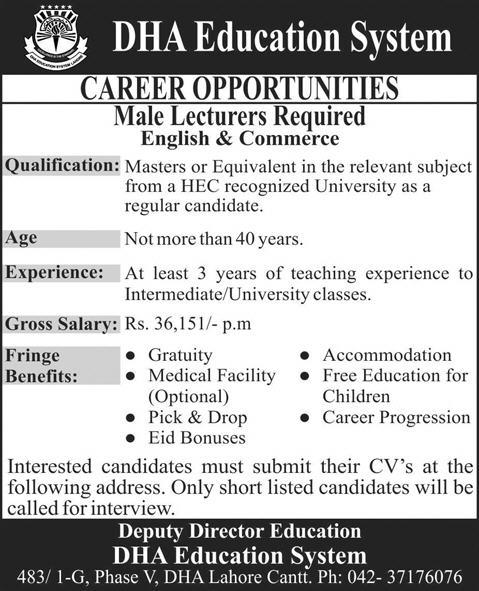 Lecturers Jobs in DHA Education System Lahore