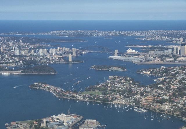 Foto desde el avión de la bahía de Sydney