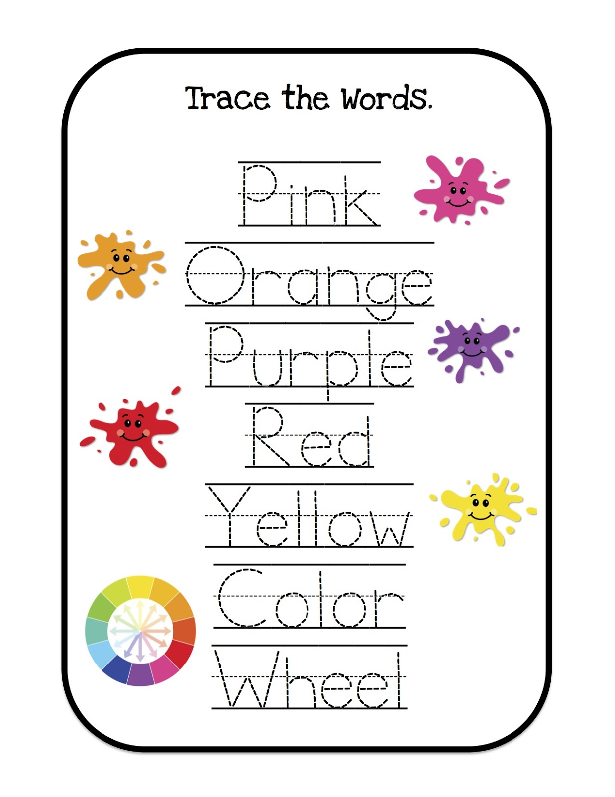 Colors for learning free printable learning colors coloring pages are - Filename Trace The Words 2 Jpg View Image Found On 2013 03 Learning Colors Printable Html