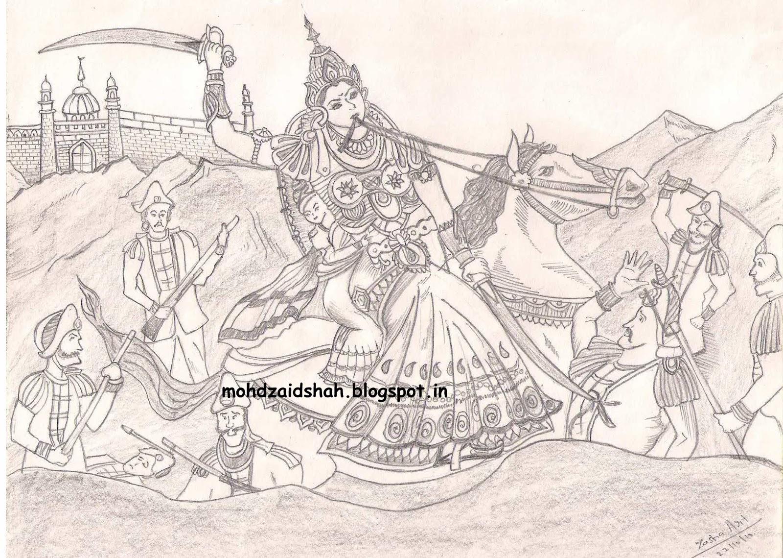 the sketching hands jhansi ki rani maharani laxmi bai