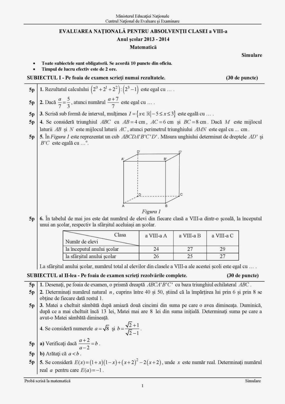 Subiecte, variante si rezolvari pentru examene nationale ...