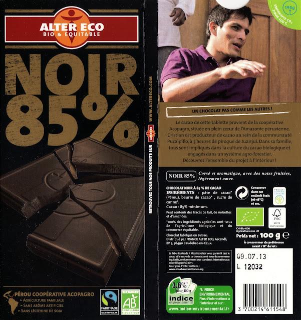 tablette de chocolat noir dégustation alter eco pérou noir 85