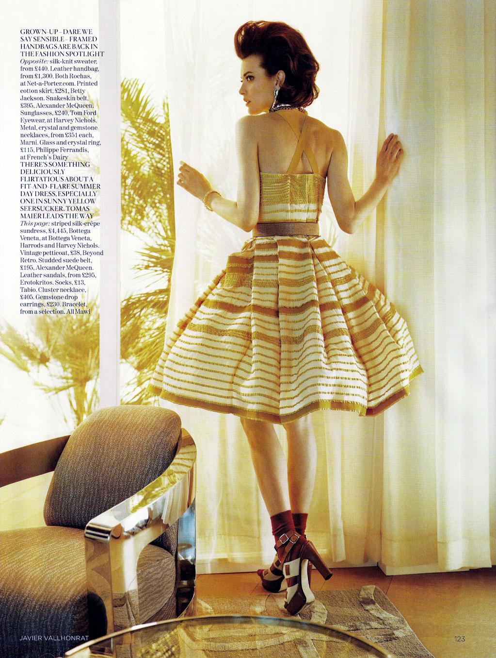Shalom Harlow in Vogue UK June 2010 (photography: Javier Vallhonrat, styling: Lucinda Chambers)