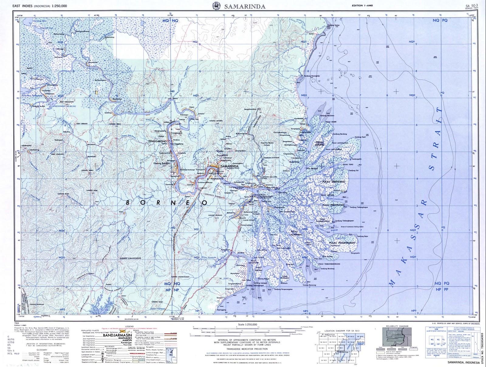 Samarinda Indonesia  city photos gallery : TAKJUB INDONESIA: Peta Topografi Samarinda skala 250k