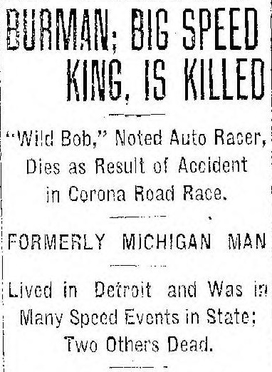Bob Burman's death notice