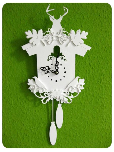 handmade white cuckoo clock