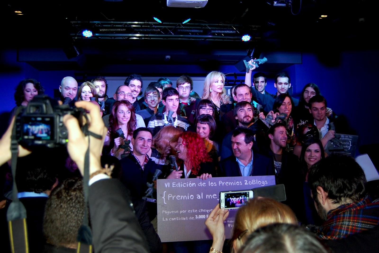 Ganadores. El equipo de Revista Making Of en gala de los Premios 20 Blogs