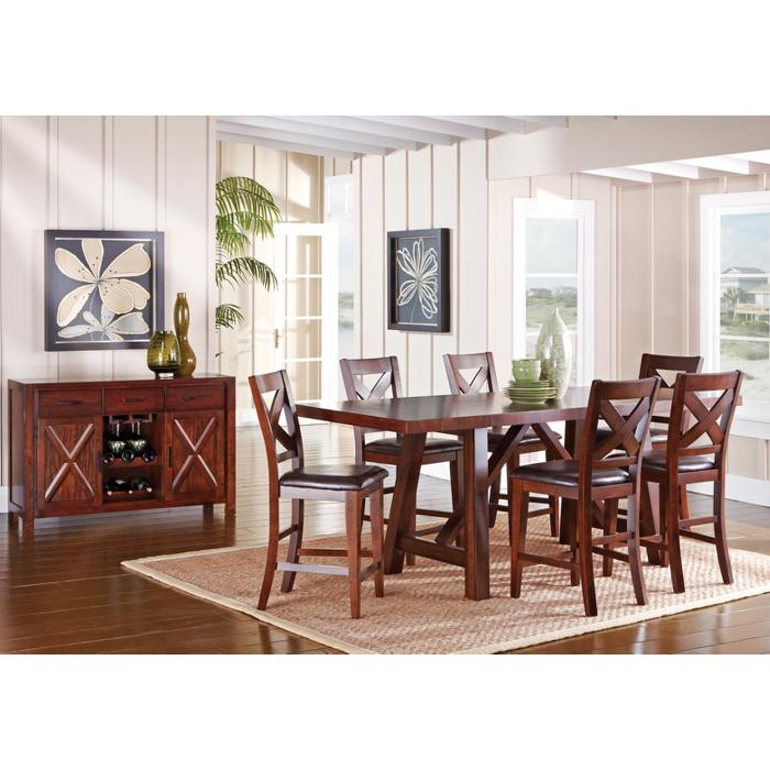 Counter Height Dining Room Set With Leather Chairs