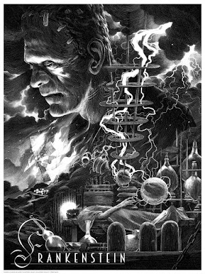Universal Classic Monsters Screen Print Set by Nicolas Delort & Dark Hall Mansion - Frankenstein