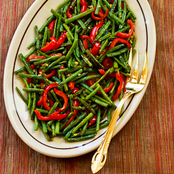 Roasted Green Beans and Red Bell Pepper with Garlic and Ginger found ...