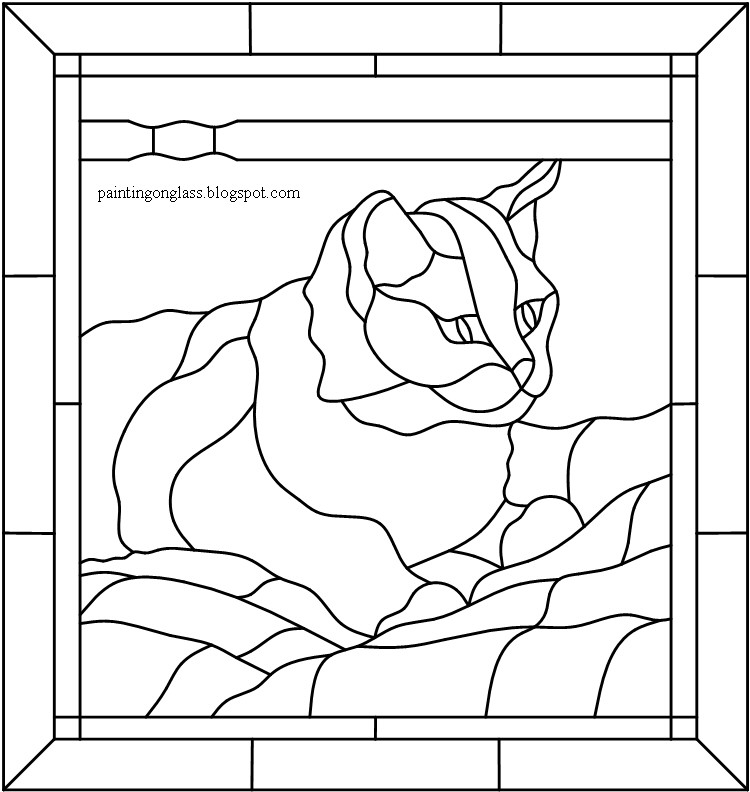 Stained Glass Tabby Cat Pattern