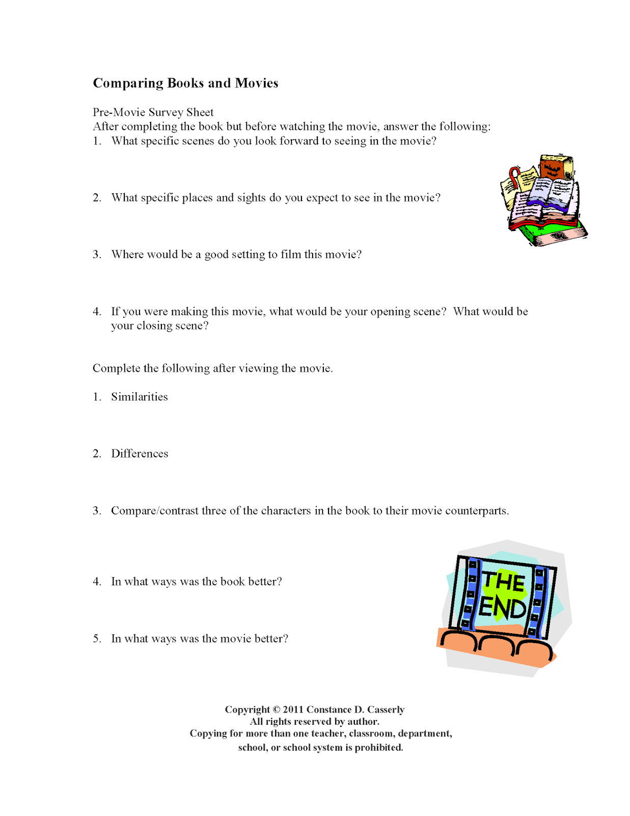 Activity: Comparing Books and Movies Worksheet
