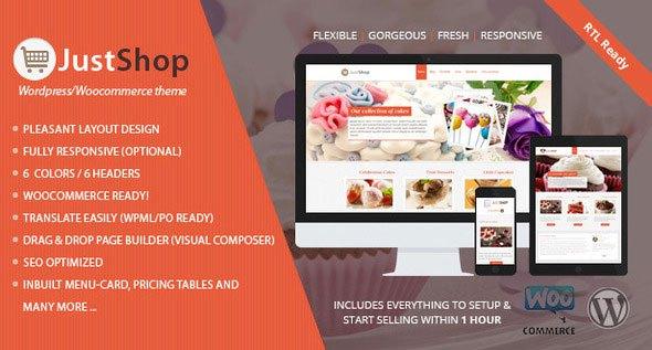 Download Free Justshop v6.2 Cake Bakery WordPress Theme
