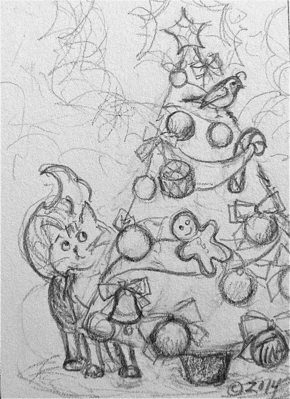 """A Partridge in a Fir Tree"" 3.5""x2.5"" graphite on paper  ©2014 Tina M Welter  Pencil drawing of a cat tempted by a bird in the Christmas tree."