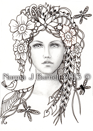 COLOR YOUR OWN ACEO FAIRY TANGLE PRINTS